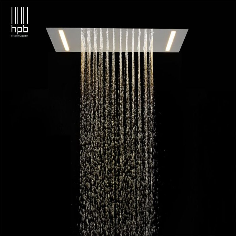 HPB 2 ways luxury stainless steel LED rainfall ceiling mounted shower faucets head 500mmx360mm massage led shower L-50X36D