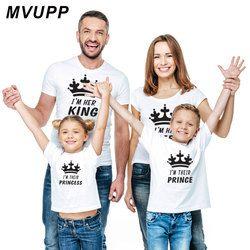 Keluarga Terlihat Mommy dan Saya Yang Sesuai dengan Pakaian Pakaian Ayah Ibu Ibu Anak Bayi Anak Laki-laki Anak Perempuan T-shirt Raja Ratu Tshirt summe
