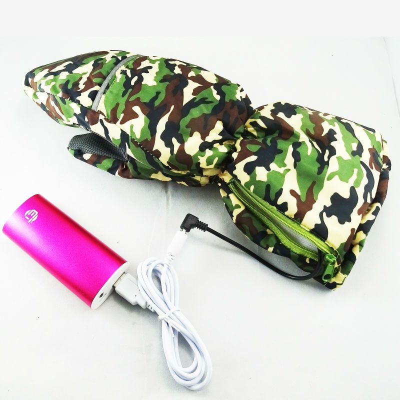 Newest Electronic Fabric Flexible Camouflage Outdoor Activitis battery/Power bank heated gloves For External Battery Pack