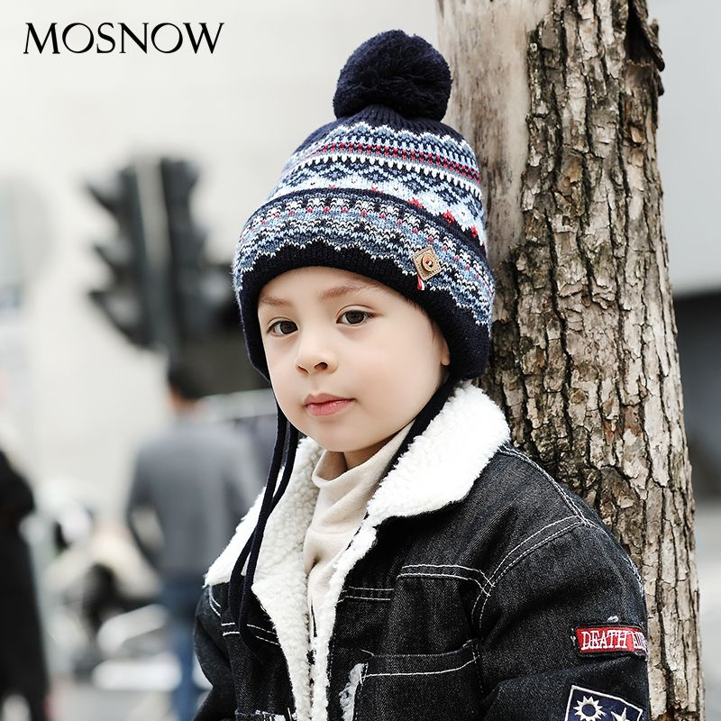 MOSNOW Caps Children Boy Girl Lovely Cotton Brand New High Quality Fashion 2017 Winter Knitted Hats Skullies Beanies #MZ848