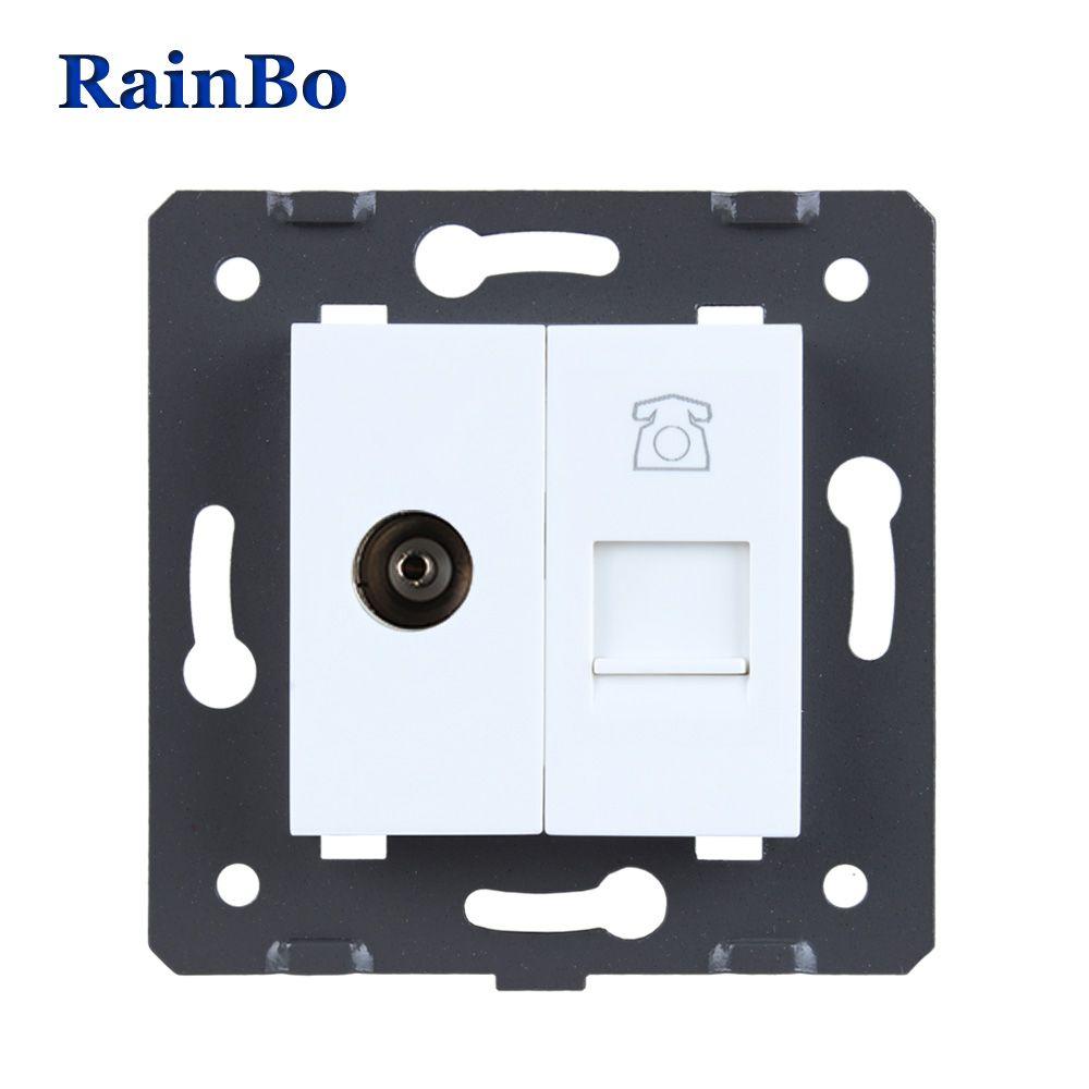 RainBo Free Shipping White Plastic Materials DIY Accessory Function Key For TV + Telephone socke EU Standard A8TVTPW/B