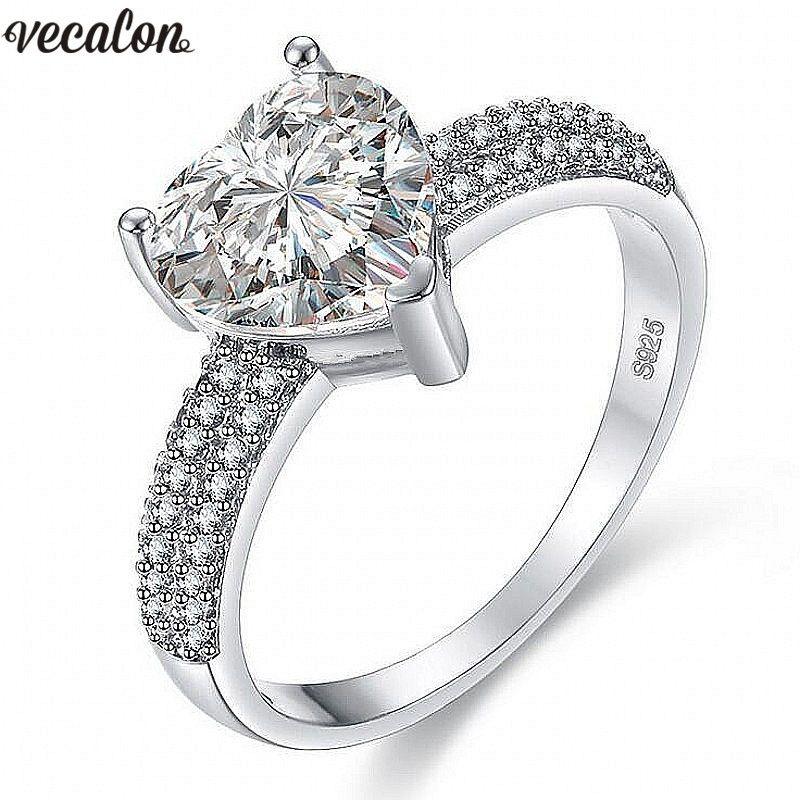 Vecalon 3 couleurs Coeur Forme anneau 5A Zircon Cz 925 sterling argent Rempli Engagement wedding Band anneaux pour les femmes De Mariée bijoux