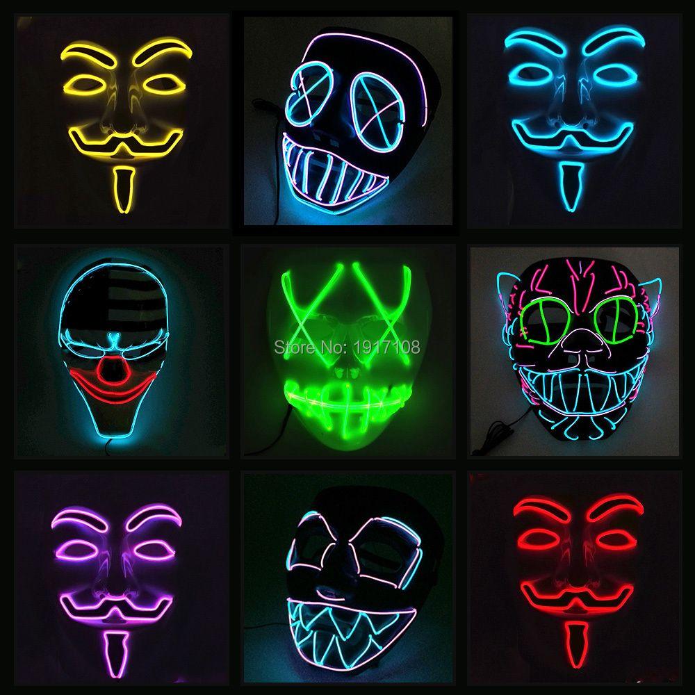 10 COULEUR Option Vendetta EL fil Masque Clignotant Cosplay LED MASQUE Costume Anonyme Masque pour Élogieux danse Carnaval Parti Masques