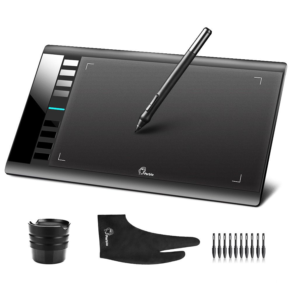 Parblo A610 (+10 Extra Nibs) Digital Graphics <font><b>Drawing</b></font> Tablet 2048 Level Pen + Anti-fouling Glove (Gift)