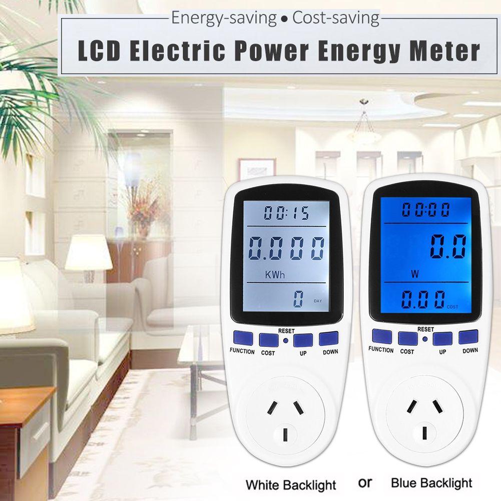 LCD Numérique Tension Watt Électrique Compteur D'énergie Batterie Monitor UE Plug Électricité Bleu Blanc Rétro-Éclairage