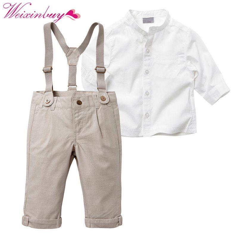 Nouveau Automne Printemps Été Enfants Bébé Garçon Gentleman Vêtements Ensemble À Manches Longues Tops + Longue Bretelle Pantalon 5 Tailles