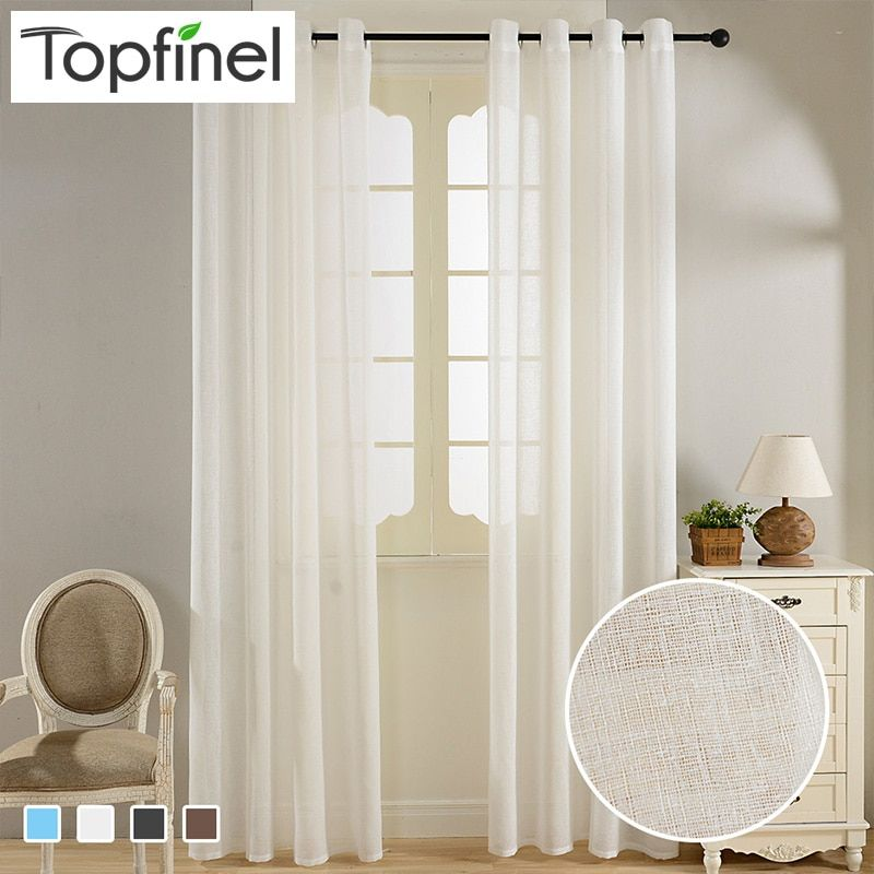 Top Finel Solid Faux Linen Sheer Curtains for Living Room Bedroom Kitchen Tulle Curtains for Window Yarn Curtains Drapes Kids