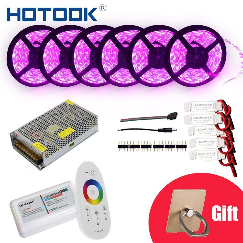 HOTOOK LED Strip 10m 20m 25m 30m12V RGB RGBW Set Waterproof <font><b>5050</b></font> Flexible 300LED stripe 5m IP65 diode tape LED Rope Ribbons Kit