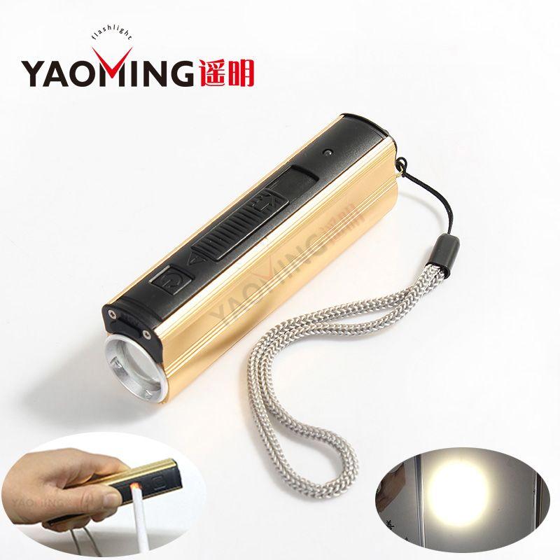 Allume-cigare Électronique Rechargeable Briquet de Poche XPE LED 200 Lumen 3 Modes lampe de Poche Étanche avec USB batterie externe Torche