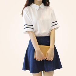 Японская Корейская школьная форма моряка Мави форма Turn-Down воротник короткий рукав топы и юбка британский темно-синий стиль средняя школа