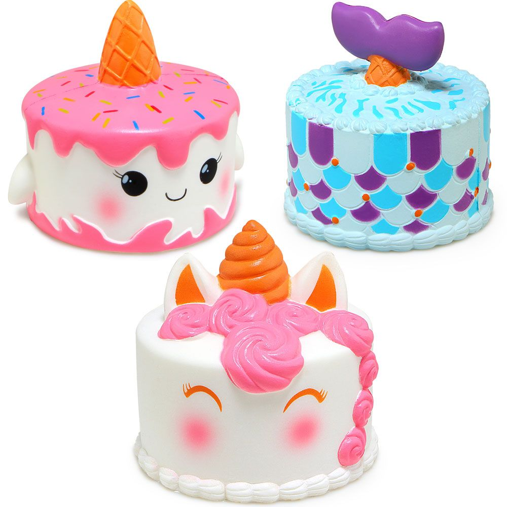 Jumbo Squishy Cute Unicorn/Mermaid/Whale Cake Squishies Slow Rising Cream Scented Squeeze Toy Phone Strap