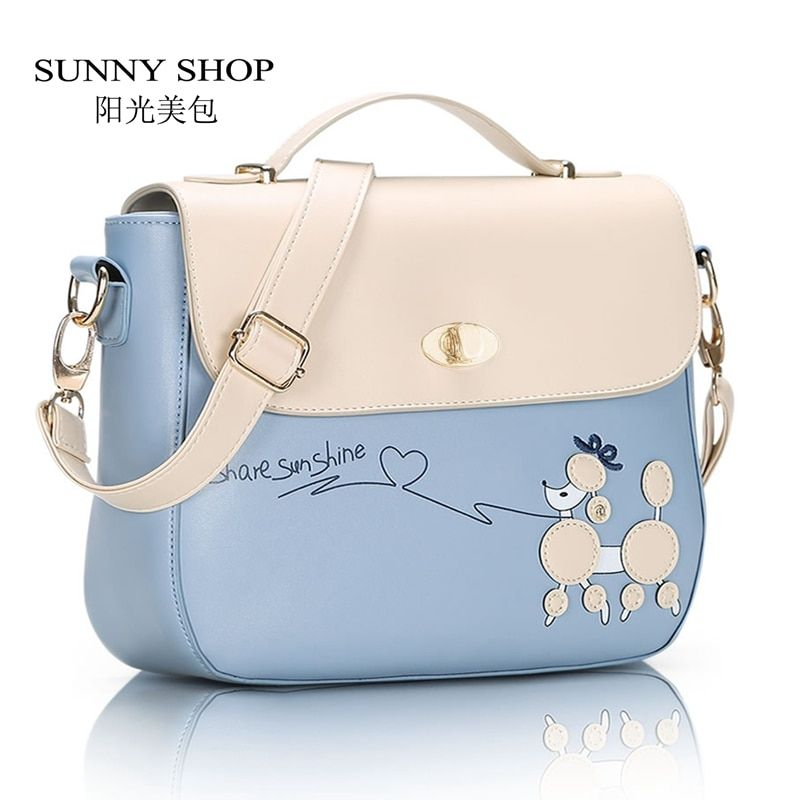 SUNNY SHOP Spring Fashion Small Women Messenger Bags Fresh Students Girls Shoulder Bags candy colour Lady Bag with Dog Cartoon