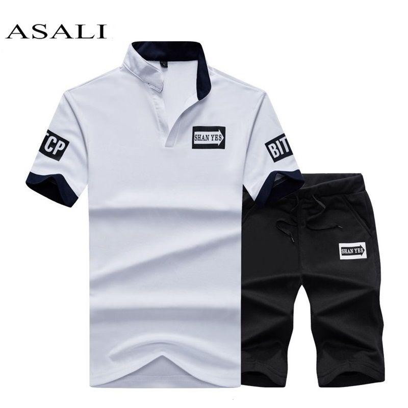 New 2018 Summer 2 PCS Top Tee Shirts Casual Tshirt Brand Men T-shirt Fashion Print letter Mens T Shirt Homme Short Set Plus Size