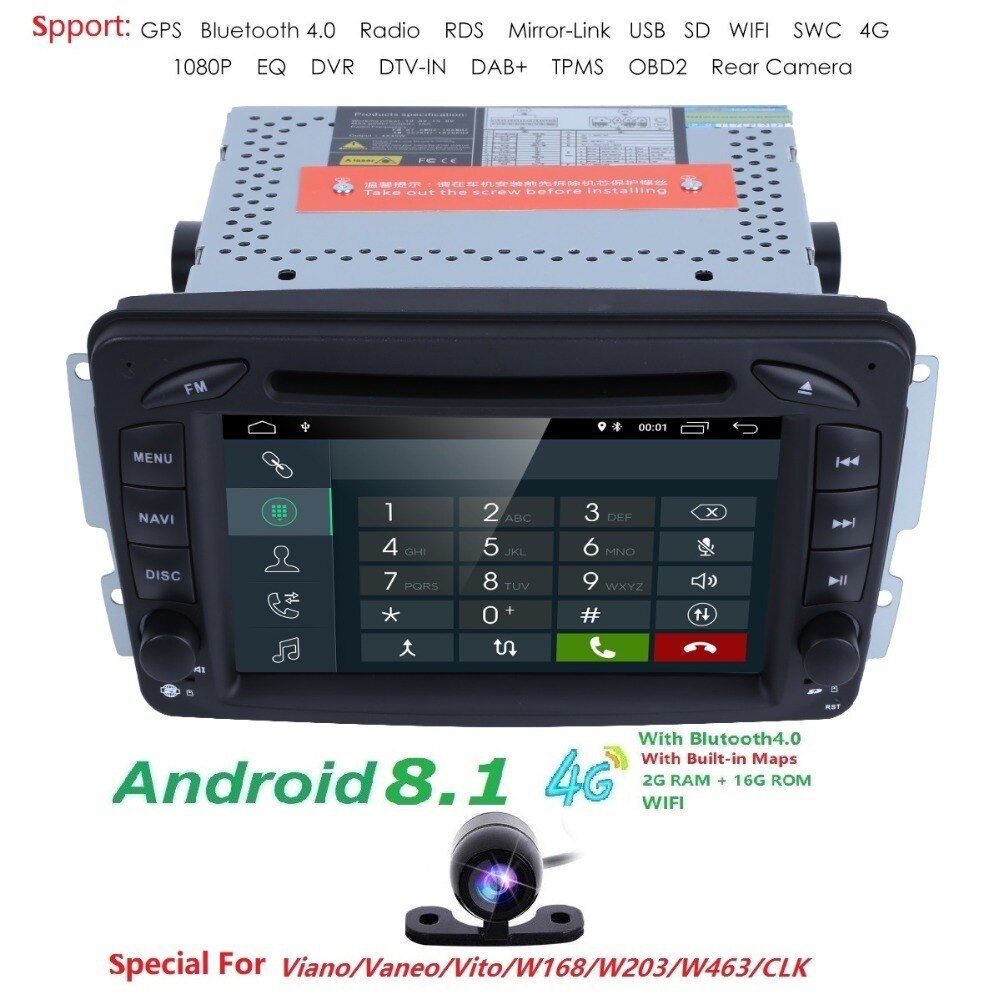 Android8.1 CarDVD Radio Player GPS Wifi for Mercedes/Benz W203 Viano Vito W639 W638 W168 W210 C180 C200 C220 C230 C240 C270 C320