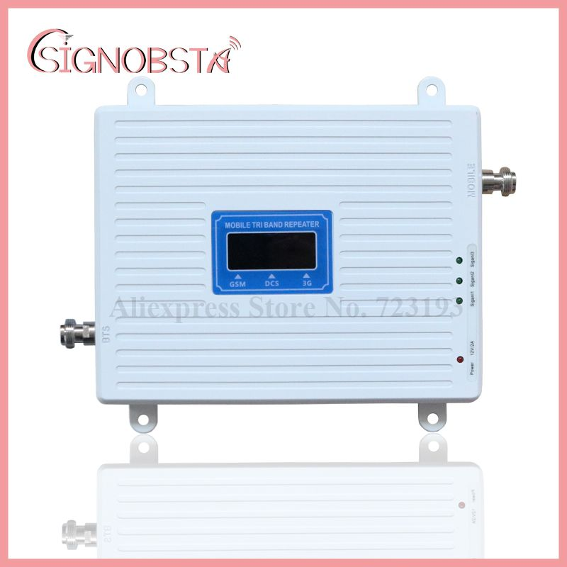 High Gain 70dB Cellphone 2g 3g 4g Triband Repeater gsm900 dcs1800 w-cdma2100 mHz Booster Amplifier 2018 Wholesale