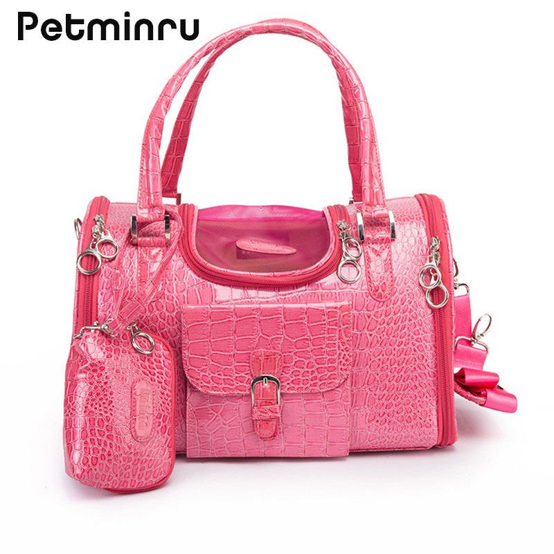 Petminru Portable Outdoor Pet Cat Dog Carrier Bag With Purse Pu Leather Travel Small Dog Chihuahua Teddy Carrying Bag Handbag