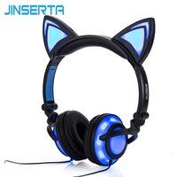 JINSERTA 2018 Cat Ear headphones LED Ear headphone cat earphone Flashing Glowing Headset Gaming Earphones for Adult and Children