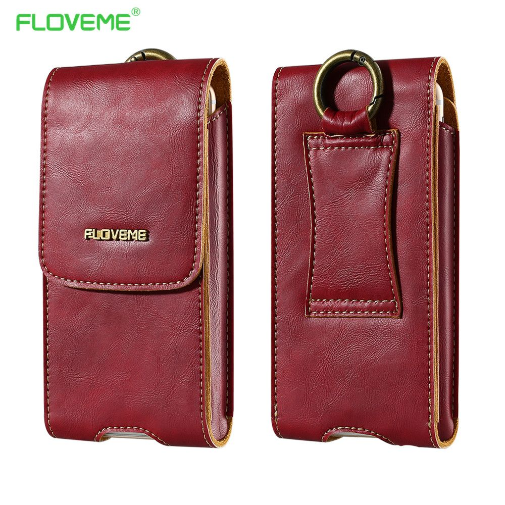 FLOVEME Genuine Leather Phone Bag Purse Wallet Case Pouch For Samsung Galaxy S7 Edge S6 Edge Universal 5.5 Inch Wallet Phone Bag