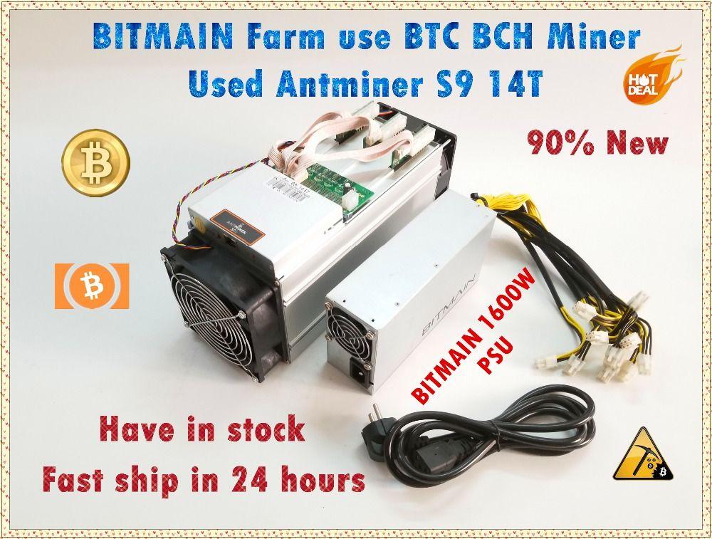 Verwendet AntMiner S9 14 T Mit Bitmain APW3 + + 1600 W NETZTEIL Asic BTC BCH Miner Besser Als Antminer S9 s11 S15 T15 T9 WhatsMiner M3 M3X