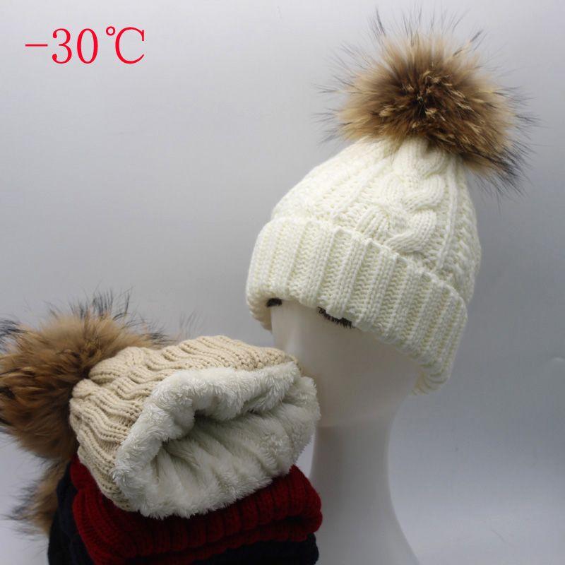 2019 chapeau femmes Chaud Polaire À L'intérieur Beanie Chapeaux D'hiver Pour Femmes Filles Réel pompon en fourrure Chapeau Femelle Torsion bonnet tricoté Skullies