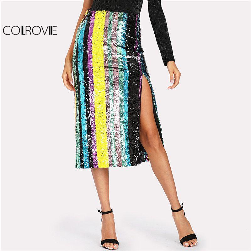 COLROVIE 2018 Patchwork Côté Fente Rayé À Paillettes Jupe Dames Mi Taille Colorblock Partie Jupe Femmes Pleine Longueur Gaine Jupe