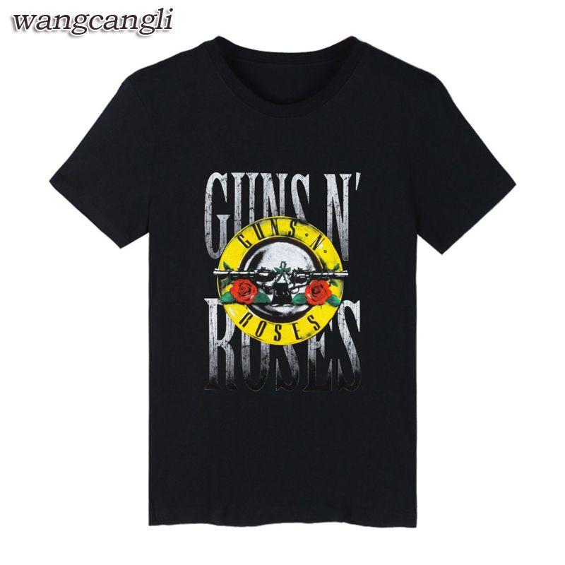 GUNS and roses hommes T-shirts Noir D'été En Coton À Manches T Chemise et Rock Band hommes t-shirt Hip Hop dans 4XL Shirts Guns N Roses