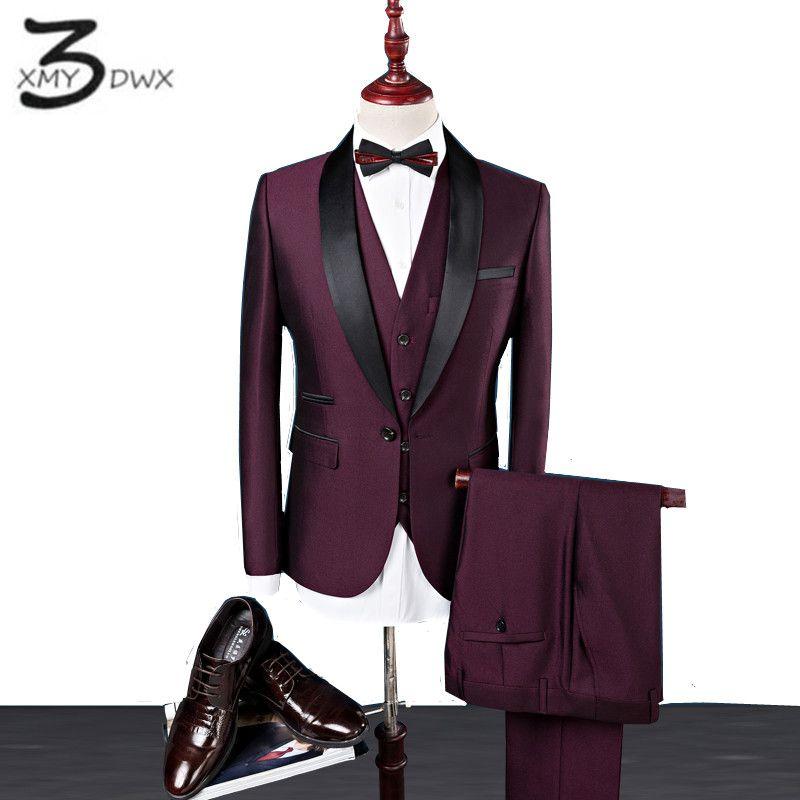 Xmy3dwx (Куртки + жилет + Штаны) для мужчин премиум-бренда из чистого хлопка сценического шоу бизнес блейзеры/Для мужчин Формальные Карьера кост...
