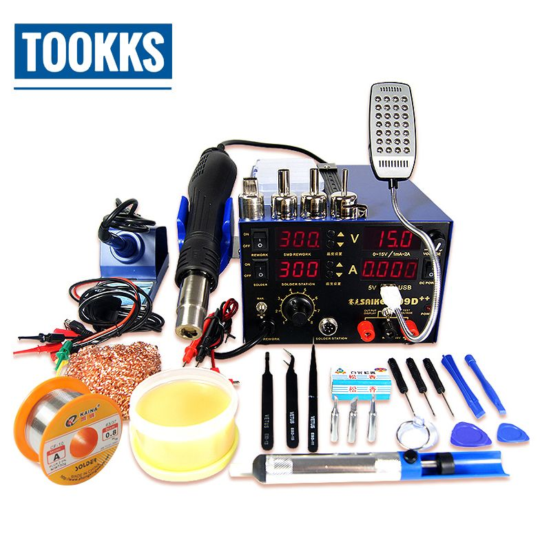 Saike 909D++ 3 in 1 Soldering Station iron+Hot Air Gun+Power Supply BGA SMD Soldering Rework Station Updated from Saike 909D