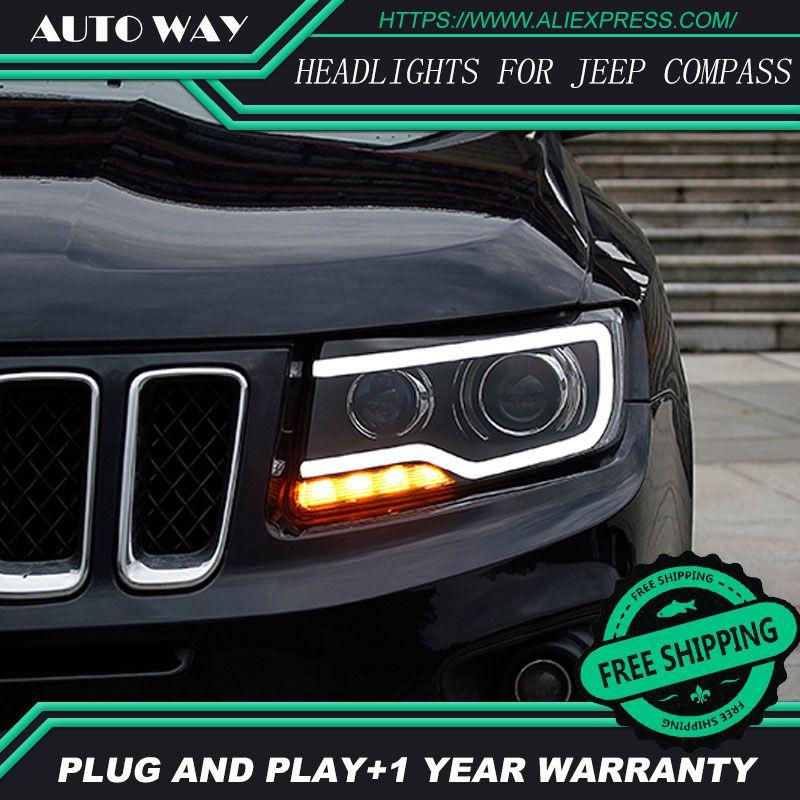 Auto Styling Kopf Lampe für Jeep Compass Scheinwerfer Kompass 2011-2017 Led-scheinwerfer H7 D2H Hid Option Engel Auge Bi Xenon strahl
