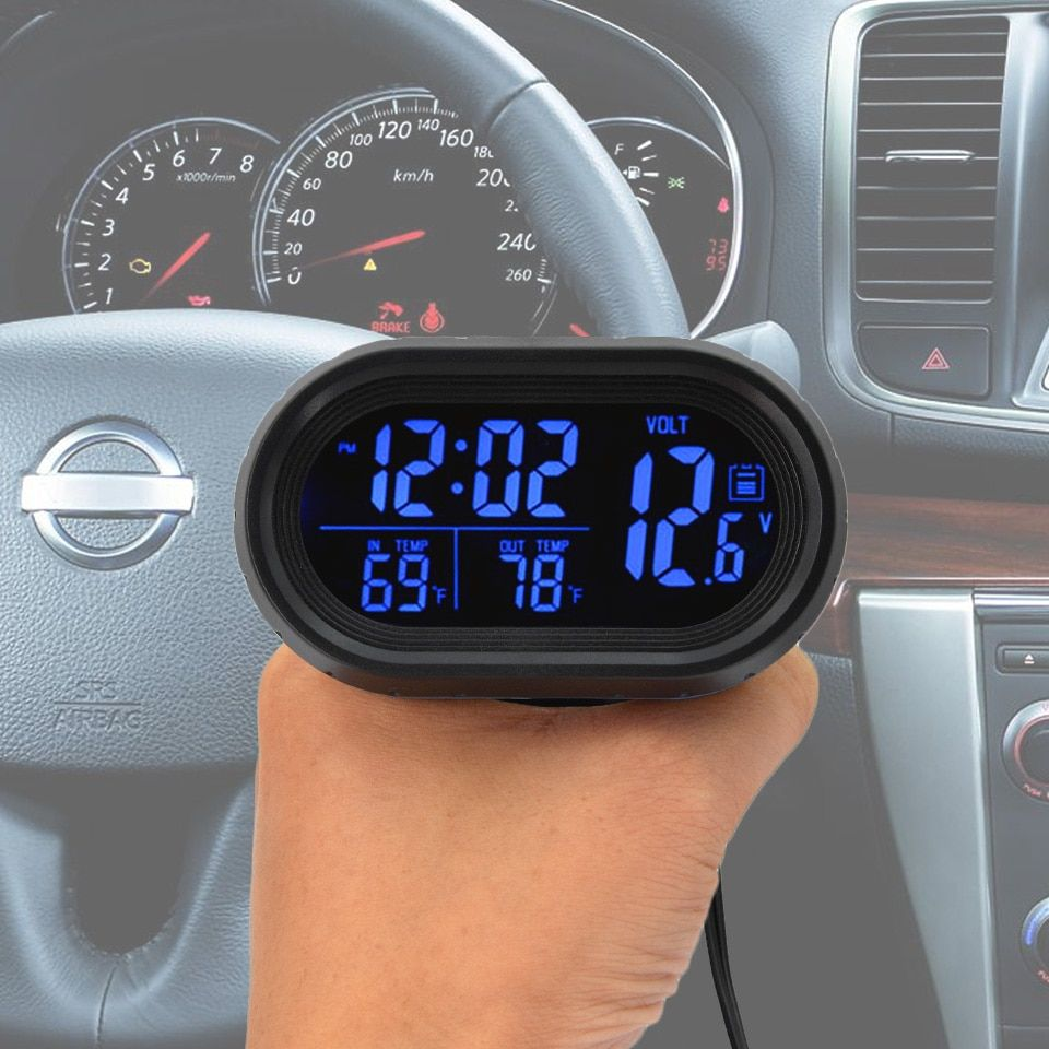 4 in 1 Digital Car clock Thermometer Battery Voltmeter Voltage Meter Tester Monitor Noctilucous Clock for car Temperature
