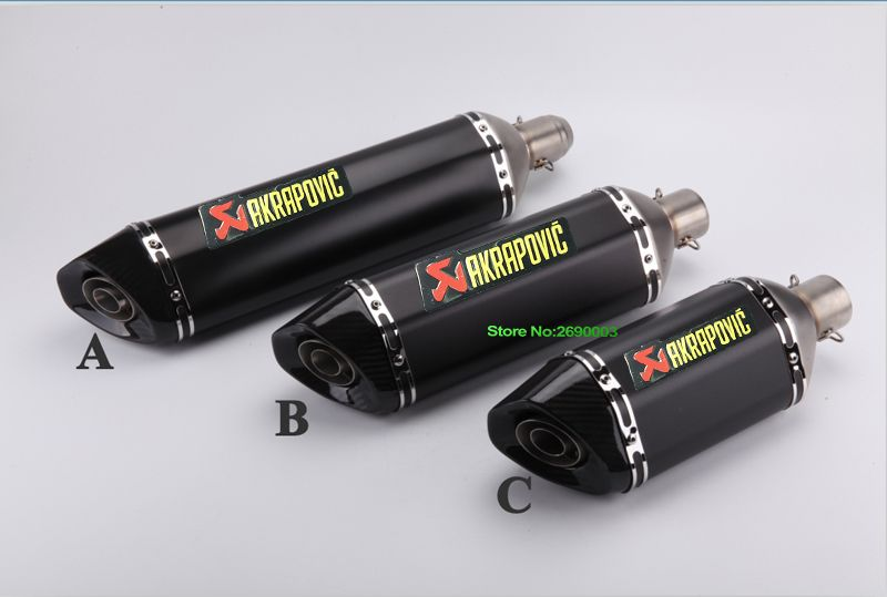 51mm Length 570mm Akrapovic Exhaust Motorcycle Stainless Steel Motorbike Exhaust Mufflers with Carbon Fiber Tip and DB Killer
