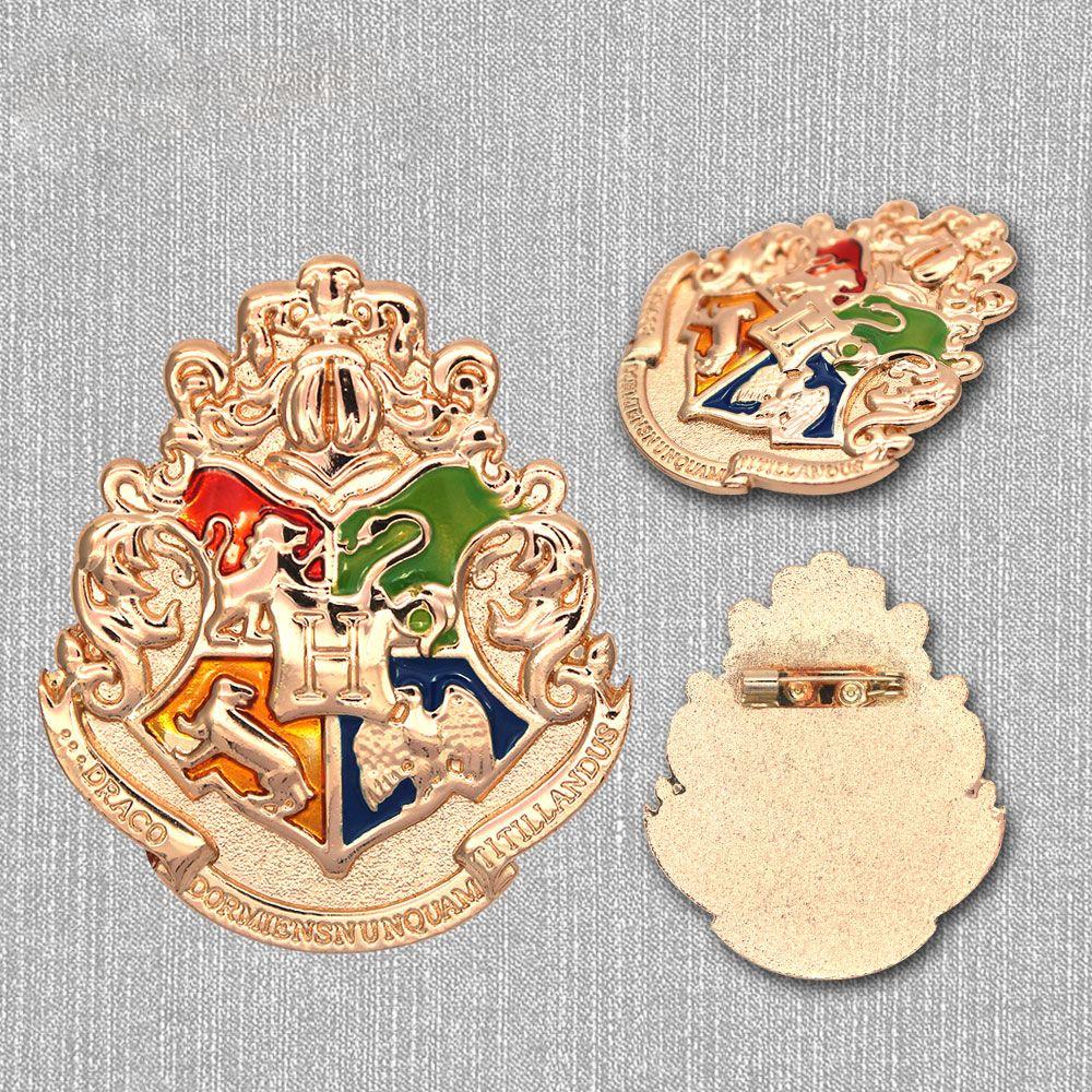 Harri Potter Hogwarts Schule Symbol Gold Metall Abzeichen Pin Brosche Brust Taste Ornament Cosplay Kostüm Sammlung Otaku Geschenk