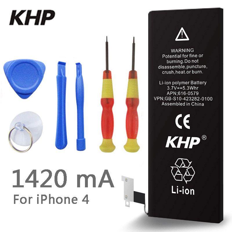 2018 Nouveau 100% D'origine KHP Batterie de Téléphone Pour iphone 4 Capacité Réelle 1420 mah Avec Machines-outils Kit Batteries Mobiles 0 cycle