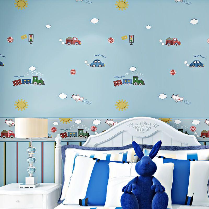 Kinder Zimmer Cartoon Auto Hintergrund Dekor Tapete Jungen Zimmer Schlafzimmer Streifen Umweltschutz vlies Tapete Blau