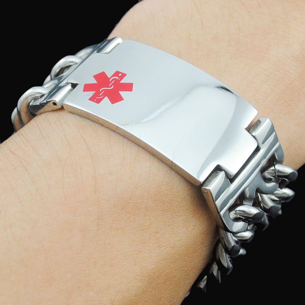 ATGO classique bijoux hommes Bracelet d'alerte médicale Bracelet en acier inoxydable Double lien chaîne rouge alerte ID pour homme cadeau BB1423