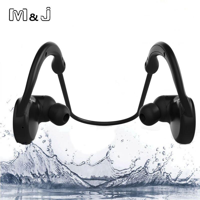 M & J M11 IPX7 Étanche Sans Fil Bluetooth Casque Stéréo Sport De Bain Écouteurs Avec Microphone pour iPhone Samsung Xiaomi Baigner