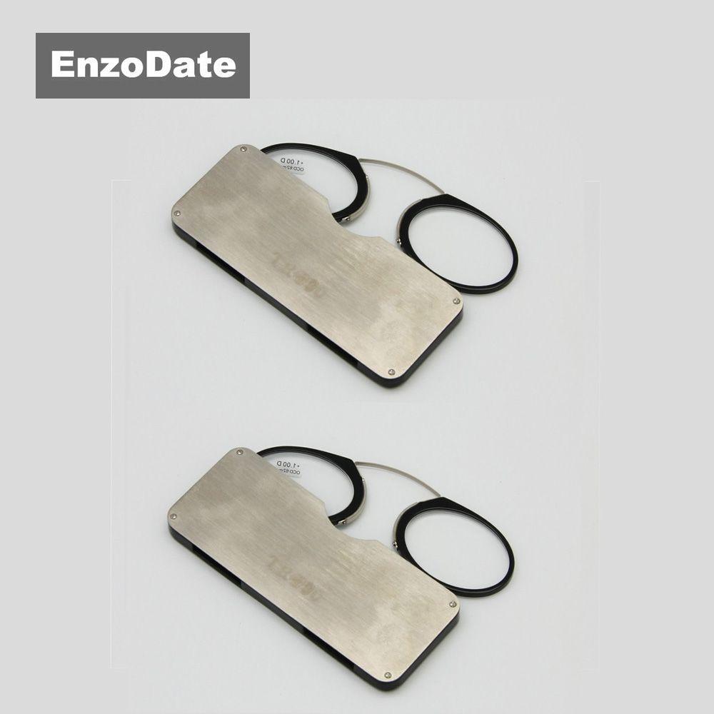 Lunettes de lecture de repos de nez + 1.0 à + 3.5, pince de nez de lecteur de portefeuille SOS d'urgence Portable avec étui
