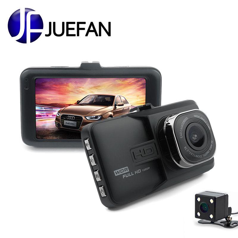 JUEFAN registraire voiture caméra DVR 1080P HD 120 degrés Dvr voiture miroir caméra double caméra lentille avec vue arrière caméra Dashcam