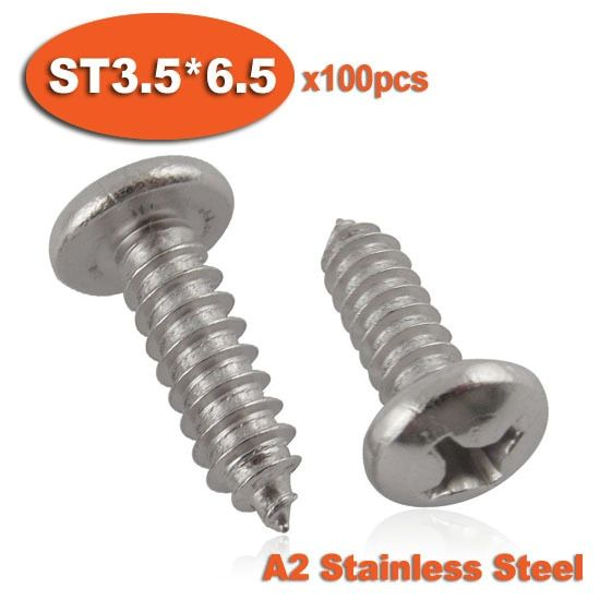 100pcs DIN7981 ST3.5 x 6.5 A2 Stainless Steel Self Tapping Screw Phillips Cross Recessed Pan Head Self-tapping Screws