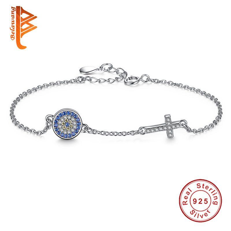 Classique Bleu Chanceux Eye & Cristal Croix Bracelet Bracelet Lien Chaîne Charms Bracelet pour les Femmes 925 Sterling Argent Authentique Bijoux
