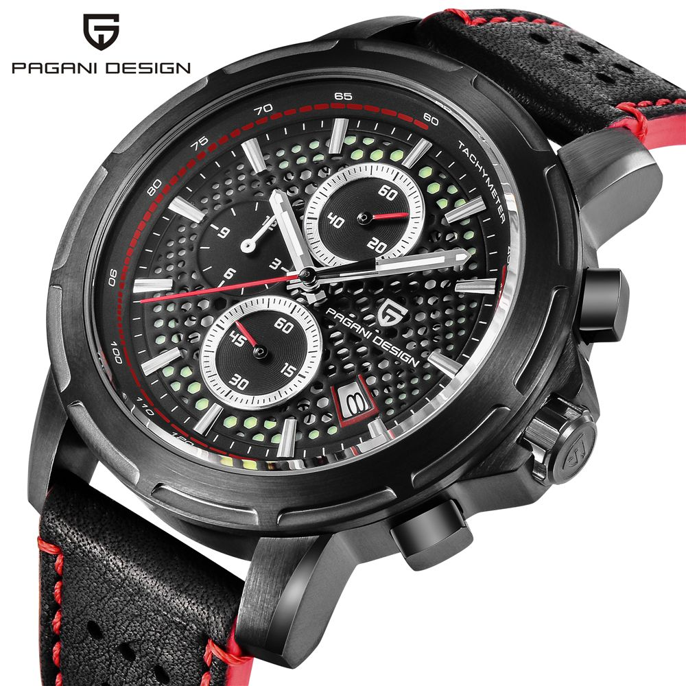 PAGANI DESIGN Top Brand Luxury Waterproof Genuine Leather Sport Military Quartz Watch Men Clock Relogio Masculino dropshipping