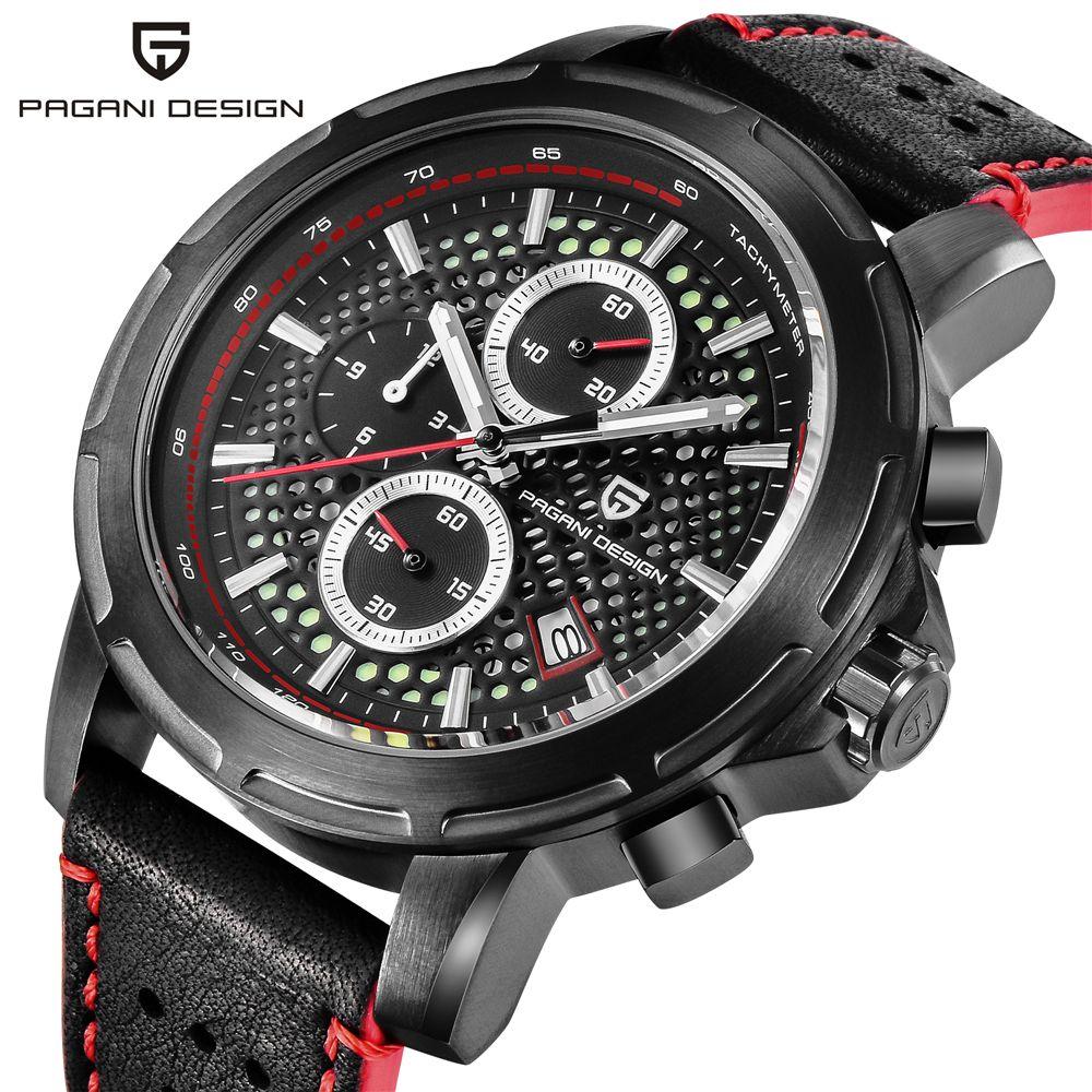 PAGANI DESIGN Top Marke Luxus Wasserdicht Echtem Leder Sport Militär Quarzuhr Männer Uhr Relogio Masculino dropshipping