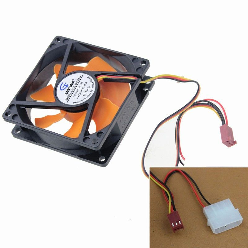 2pcs Gdstime Ultra Quiet 2 Wire DC 12v 80mm x 80mm x 25mm 8CM Cooling Fan For CPU Computer Chassis Case