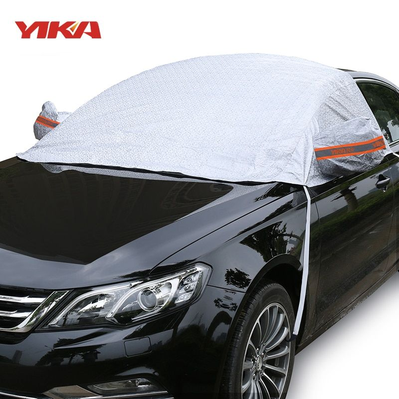 YIKA Universal Car Half Covers Sunshade Styling Foil Waterproof Thicken Car Snow Shield Anti-UV Snow Protection Covers For Cars