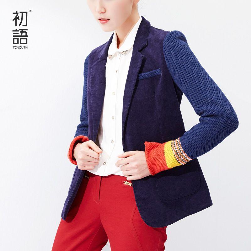Toyouth Women Single Button Blazer Short Design Cotton Long-Sleeve Slim Blazer Color Block Patchwork Women Blazers