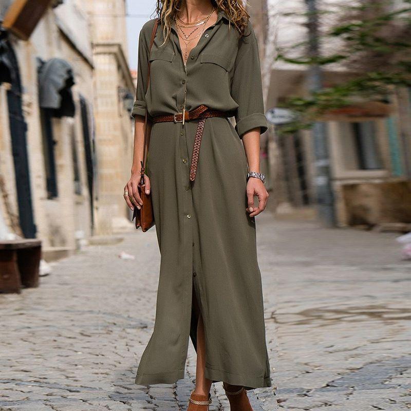 DeRuiLaDy 2018 New Fashion Women Casual Long Dress Women Autumn Winter Long Sleeve Button Shirt Maxi Dresses Ladies Vestido