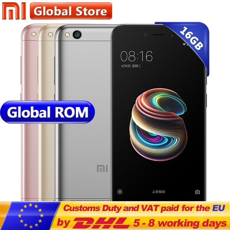 Original Xiaomi Redmi 5A 2GB 16GB ROM RAM Snapdragon S425 Quad Core Mobile Phone MIUI9 13.0 MP + 5.0MP 3000mAh 5.0