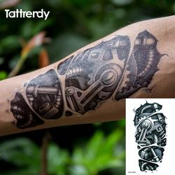 Временные татуировки 3D черная механическая рука робота временные Переводные татуировки наклейки Горячая сексуальная крутая Мужская спрей...