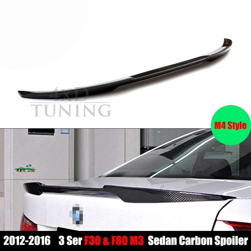 M4 Style For BMW F30 Spoiler 3 Series F30 316i 318i 320i 328i 335i 326d F80 M3 Carbon Fiber Trunk Wing Rear Spoiler Wing 2012-UP