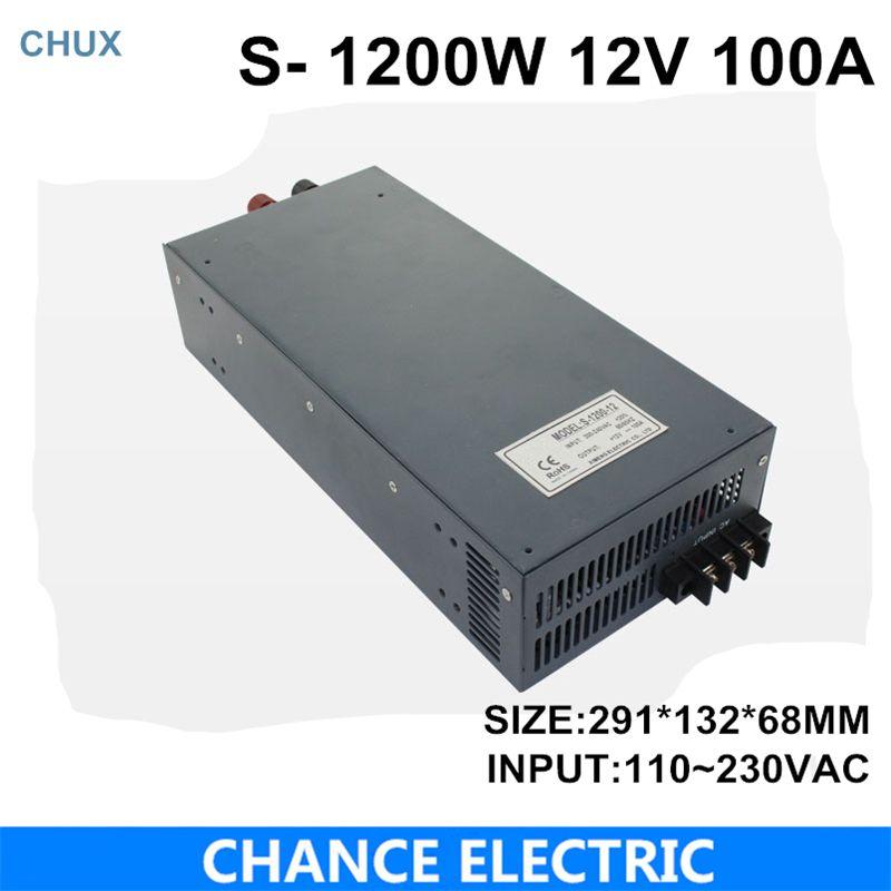 switching power supply 12V 100A 1200W 110~220VAC single output input for cnc cctv led light(S-1200W-12V)